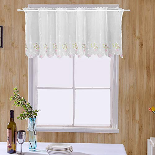 ZHH Pastoral Style Floral Embroidered Cafe Curtain, Lace Sheer Window Valance 23 by 57-Inch, Pink Bowknot Pattern on White