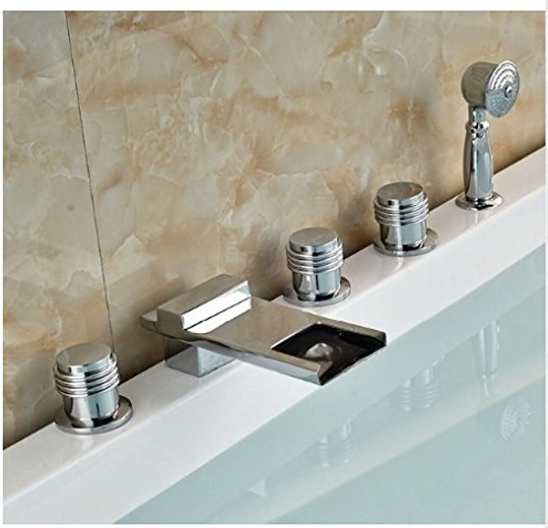 Gowe? Bathroom 5pcs Bathtub Shower Set Brass Chrome Polish Shower Set With Hand Shower Deck Mounted