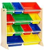 KidKraft- Sort It & Store It Mueble clasificador y organizador de juguetes con 12 contenedores para cuarto infantil , Color Primario/Natural (16774)