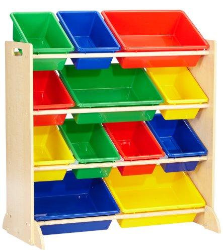 KidKraft 16774 Etagère de rangement, chambre enfant, meuble incluant 12 casiers en plastique interchangeables - couleurs primaires et coloris naturel