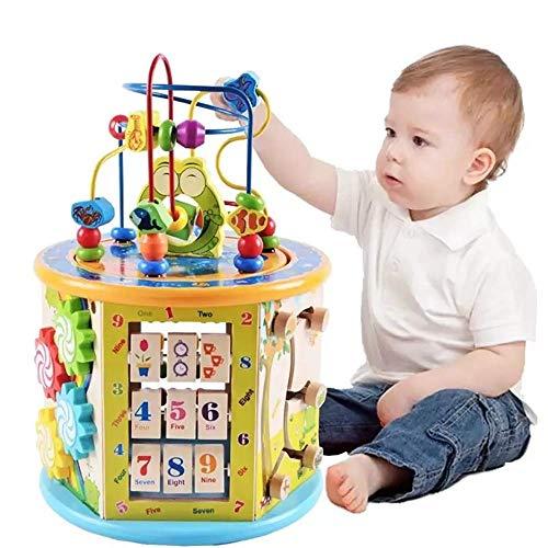 WXG1 Horloge Numérique en Bois Diapo Ball Maze Couleur Abacus Tout-Petits Jouets, Jouets en Bois d'apprentissage Précoce, Parent-Enfant des Jouets Éducatifs Interactifs Cube
