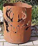 Rostalgie Edelrost Feuertonne mit Hirsch 50x39cm, inkl. Herz 8x6cm Feuerkübel Feuerkorb Garten Deko