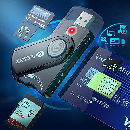 6 en 1 Lector de tarjetas inteligentes USB DOD Military USB CAC SD Micro SD M2 MS Lector de tarjetas de memoria SIM, lector de tarjetas de crédito Lector de tarjetas inteligentes con chip CAC