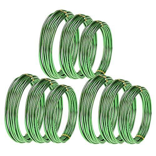 Haudang 9 rollos de bonsái de aluminio anodizado para entrenamiento de bonsái con 3 grren (1,0 mm, 1,5 mm, 2,0 mm), color verde