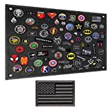 IronSeals Tactical Board Patch Organizer Holder Display with Loop Surface, Steel Ring and Flag Patch(S: 60 x 45 cm/ 23.6' x 17.7', Black + Flag Patch)