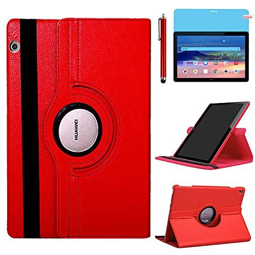 Funda para Huawei MediaPad T5 10 Casos 10.1 Inch Modelo AGS2-W09 AGS2-L09 AGS2-L03,360 Rotación Soporte Protección Cubrir,Tener bolígrafo,Película (Red)