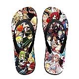 Zapatillas de anime sandalias de playa para mujeres y hombres, actividades diarias de interior al aire libre, color Negro, talla Medium/Large