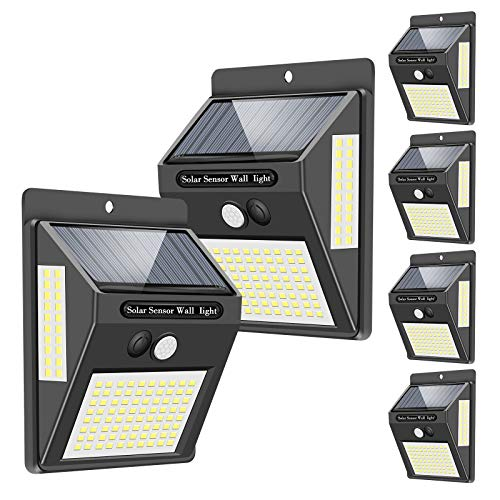 Solar Lights Outdoor[120 LED/3 Optional Modes],270°Lighting Angle Solar Motion Sensor Lights Wireless IP65 Waterproof Outdoor Solar Security Lights for Porch Garden Yard Fence Patio Deck (6 Pack)