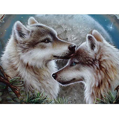 Wolf DIY 5D Diamond Painting Full Round Rhinestone Paintings Animal Diamond Embroidery Cross Stitch Mosaic Home Decor A25 45x60cm