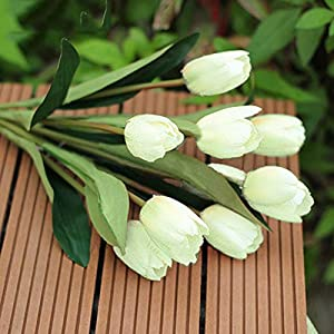 Bluelans 9 Heads Artificial Silk Real Touch Tulips Flower Bouquet Home Room or Birthday Garden Decoration (White)