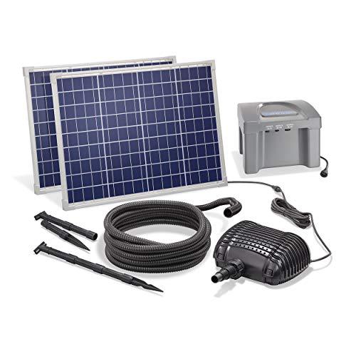 Solar Bachlaufset 100W Solarmodul 3400 l/h mit Akkuspeicher 12V/24Ah Förderleistung 3m Förderhöhe inkl. 5m Schlauch 32mm Bachlaufpumpe esotec pro Komplettset 101085