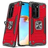 DASFOND Diseñado para Funda Huawei P40 Pro / P40 Pro + Plus, Funda Protectora para teléfono de Grado Militar con Soporte Mejorado [Soporte magnético] para Huawei P40 Pro / P40 Pro + Plus, Rojo