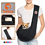 TOMKAS Small Dog Cat Carrier Sling Hands Free Pet Puppy Outdoor Travel Bag Tote Reversible (Brown) 9