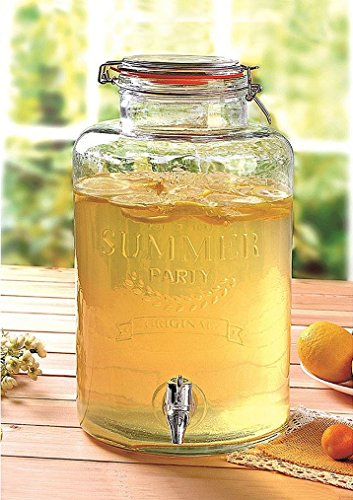 Emanhu Trading Getränkespender aus Glas mit Zapfhahn ca. 5L ca. H30 x D16,5 (1)