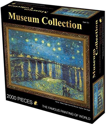 BENREN Notte sul Rodano di Van Gogh, Puzzle Classico, Puzzle da 2000 Pezzi, Adulti Bambini Bambini 27,56 X 39,37 Pollici