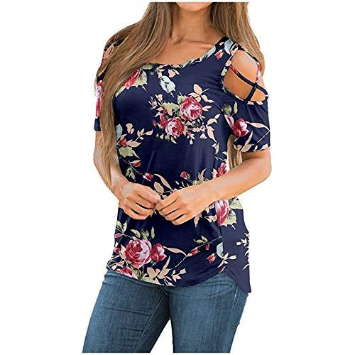 BUDAA Camiseta de manga corta con hombros descubiertos para mujer con hombros descubiertos y estampado de verano