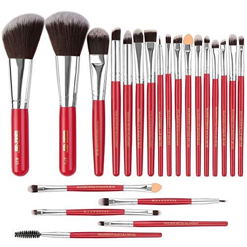 Pinceau de maquillage pinceau de maquillage Set 22 Piece Set pinceau de maquillage de haute qualité poignée en bois synthétique visage et les yeux Brosses, Convient for la Fondation, poudre compacte,
