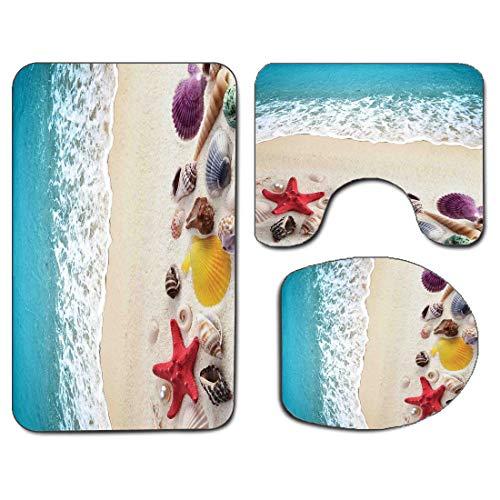 3Pcs Non-Slip Bathroom Rug Toilet Seat Lid Cover Set Beach Soft Skidproof Bath Mat Sea Shells on Sandy Coast Tropical Island Shore Summertime Travel Vacation Picture,Multicolor Absorbent Doormat Bedro