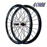 HWL V-Brake Roues Vélo Route, 700C Fibre Carbone Vélo Course 40MM Roues De Vélo Hybride/Montagne 24 Trous 7/8/9/10/11 Vitesses (Color : Blue, Size : 700C)