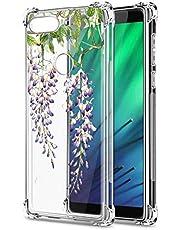 Oihxse Cristal Compatible con Sony Xperia 10plus Funda Transparente TPU Silicona Estuche Airbag Esquinas Anti-Choque Anti Rasguños Diseño Rosa Flower Caso (Flores A2)