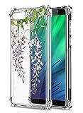 Oihxse Cristal Compatible con Huawei Y9 2019/Enjoy 9 Plus Funda Transparente TPU Silicona Estuche Airbag Esquinas Anti-Choque Anti Rasguños Diseño Rosa Flower Caso (Flores A2)