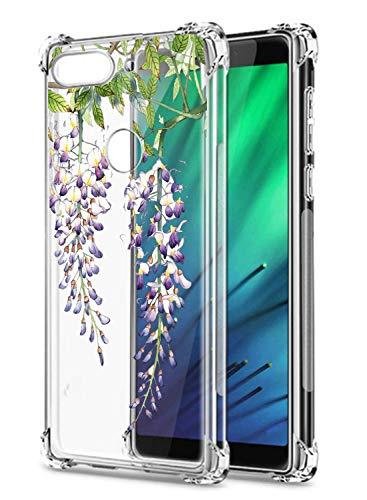 Oihxse Cristal Compatible con Samsung Galaxy J7 Duo Funda Transparente TPU Silicona Estuche Airbag Esquinas Anti-Choque Anti Rasguños Diseño Rosa Flower Caso (Flores A2)