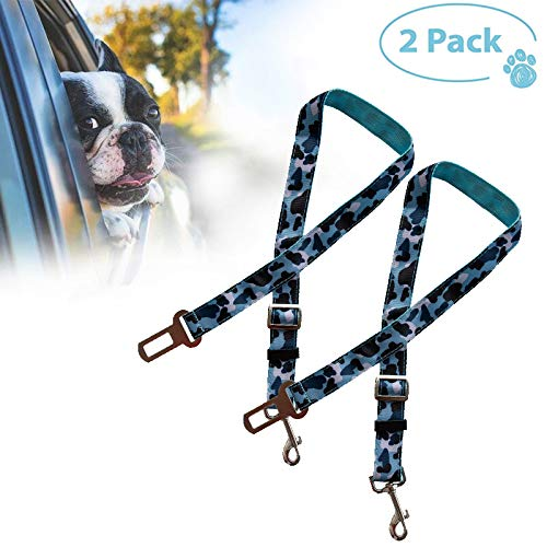 FCILY Dog Seat Belt,2 Pack Pet Car Seat Belts,Dog Seat Belt for Vehicles,Vehicle Dog Safety Belt Harness for Travel Daily Use,Compatible with Any Pet Harness,Camouflage Blue