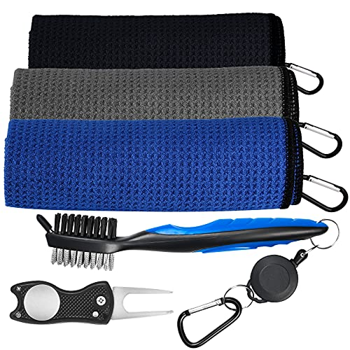 Verkstar Golf Towel Set, Microfiber Waffle Golf Towels, Brush Tool Kit with Club Groove Cleaner Accessories for Men...