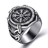 Elfasio Viking Rings Valknut Pirate Compass Norse Scandinavian Text Symbol Men Stainless Steel Vintage Jewelry Size 13