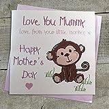 White Cotton Cards 'Love You Mummy Love de tu Little Monkey X Hecha a Mano Tarjeta de día de la Madre, Rosa