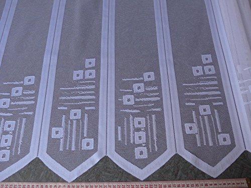 Scheibengardinenstoff weiß mit Muster und Spitzen 90cm hoch