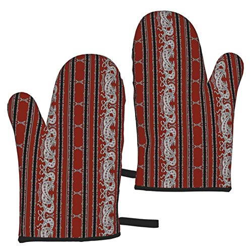Celtic Greyhound Dogs Burgundy and Grey Heat Resistant Oven Mitts,Heat Resistant Non Slip Oven Mitts,Barbecue Potholder