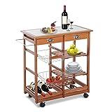HOMCOM 30' Wooden Rolling Kitchen Organizer Cart Tile Countertop with Basket Storage Wine Rack