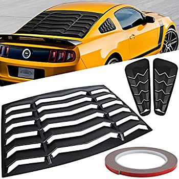 3pcs Rear & Side Window Louvers for Ford Mustang 2005 2006 2007 2008 2009 2010 2011 2012 2013 2014 ABS Sun Shade Windshield Cover Matte Black