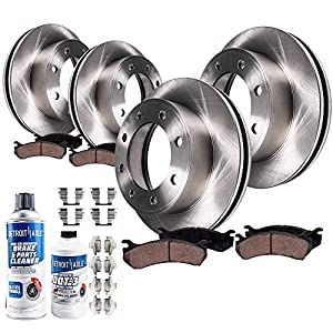 Detroit Axle - All (4) Front 331mm and Rear 326mm Brake Kit Rotors w/Ceramic Pads w/Hardware & Brake Kit Cleaner & Fluid for 4WD SINGLE REAR WHEEL MODELS
