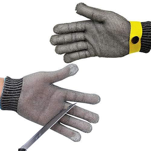 Edelstahl-Metallhandschuh, Edelstahl-Metal Mesh Metzgerhandschuh mit, Stück Schnittschutzhandschuhe Handschuhe, Sicherheitshandschuhe aus rostfreiem Stahl, zum Fleischschneiden, Angeln M Yellow