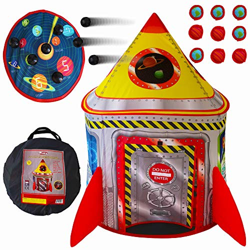 Playz 5-in-1 Rocket Ship Play Tent for Kids with Dart Board, Tic Tac...