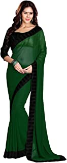 SOURBH Women's Georgette Saree with Blouse Piece, Free Size (632, Dark Green)
