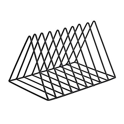 ZHBH LP metall triangel ram, skrivbordsböcker och tidskrifter mapp organiserare järn förvaringsställ, CD DVD-skiva samlingshylla (färg: svart)
