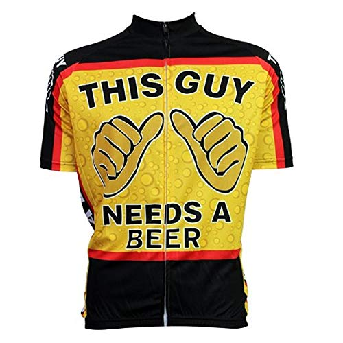 Men's Cycling Jersey This Guy Needs A Beer Short Sleeve Summer Bicycle Clothing Quick Dry MTB Jersey Cycling Shirts, Multi Color, XX-Large