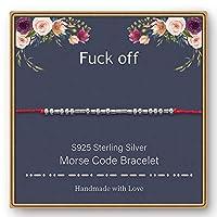 M MOOHAM 925スターリングシルバー モールスコードブレスレット - スターリングシルバービーズ シルクコードに秘密のメッセージ モールスコード ジュエリー フレンドシブレスレット 友情ギフト 親友ブレスレット 彼女へのギフト レッド