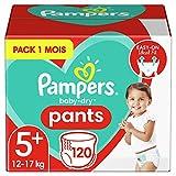 Pampers Couches-Culottes Baby-Dry Pants Taille 5+ (12-17kg) Maintien 360° pour Éviter les Fuites, Faciles à Changer, 120 Couches-Culottes (Pack 1 Mois)