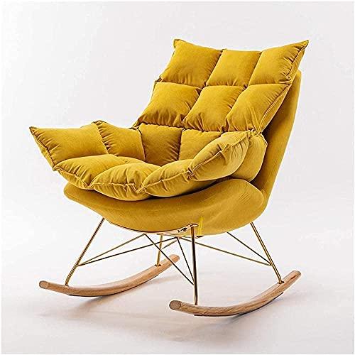 IOUYRRN Schaukelstuhl Schaukelstuhl Faules Sofa Tatami Liegestuhl Schlafzimmer Wohnzimmer Büro Modern Einfache Single Chair Lounge Stuhl-Pink (Color : Yellow)