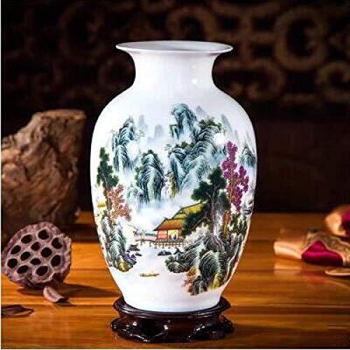 Vase Keramik Landschaft Vase Figuren Kunsthandwerk Bücherregal Einrichtung Dekoration Home Hotel Office Desktop-Zubehör Ornamente Style10