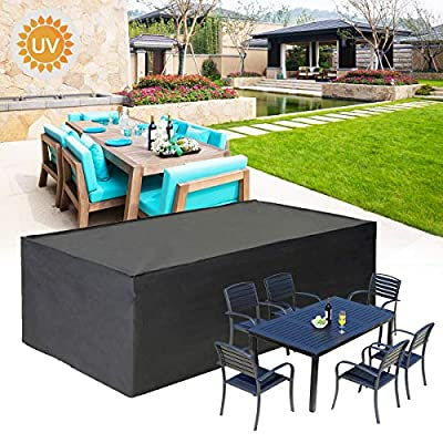 "king do way Outdoor Patio Furniture Covers Waterproof 308 X 138 X 90cm Patio Furniture Covers 600D Oxford Patio Furniture Set Covers, Windproof, Anti-UV, for Patio, Outdoor Black (120""X54"" X35"")"