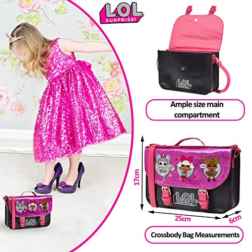 L.O.L. Surprise! LOL Dolls Handbag For Girls Featuring Glitterati Doll Unicorn, Diva, Queen Bee | Black & Pink Kids Handbag Crossbody | Children Cross Body Bag | Fashion Shoulder Bags For Kids