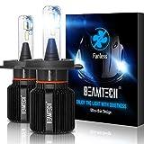 BEAMTECH H4 LED per Auto, 9003 HB2 Faro Lampadine 8000LM Fanless CSP Y19 Chips Alogene HID Xenon Sostituzione Lampadina Bianco 6500K 40W (Confezione da 2)