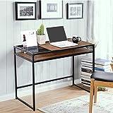FurnitureR Escritorio de la computadora Oficina en el hogar Estación de Trabajo con Almacenamiento Adicional, Estilo Industrial (110 * 47 * 74 cm) Marrón