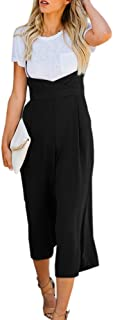 Womens Spaghetti Strap Jumpsuits Wide Leg Backless Overall Romper Pants with Pockets