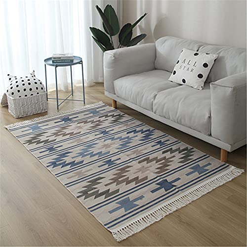 DUBENS Alfombra bohemia tejida a mano con borla de algodón para el suelo o la puerta, para salón, dormitorio, 160 x 230 cm